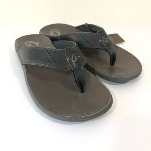 Olukai Mens 12 Brown Nui Leather Flip Flop Sandals